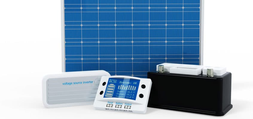 A solar battery, a solar inverter and a solar control panel as a symbol for solar core technologies