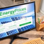 A Website showing Solar Energy Pricing