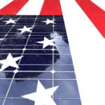 USA Flag with solar panel